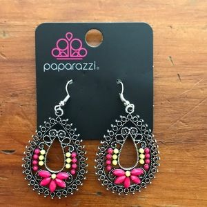 Teardrop earrings with yellow and pink beads
